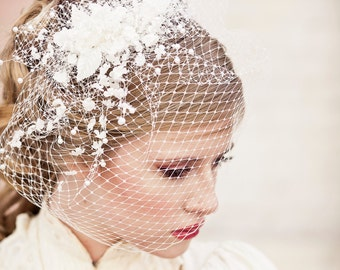 Birdcage Veil with Vintage Flower Spray Veil Wedding Headpiece Veil Wedding Hair Birdcage Bridal Veil Floral Headpiece