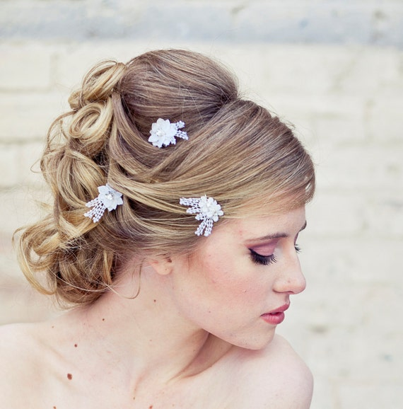 Lace Bobby Pin Wedding hair Accessories, lace Daisy Bobby Pin set in White, Flower Hair Clips