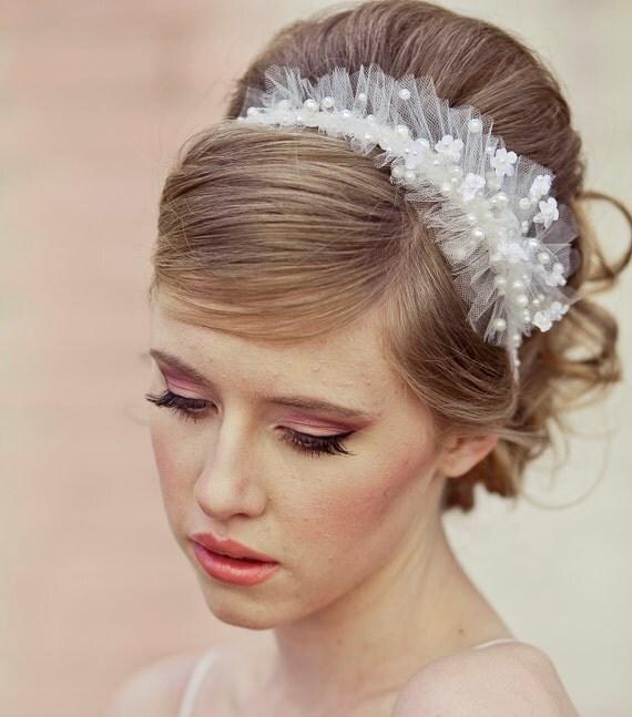 Wedding Headband Hairstyles: Items Similar To Wedding Headband Of Net And Pearls, With