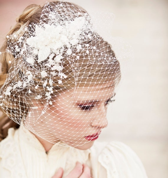 birdcage veil with vintage flower spray, modern veil, wedding headpiece