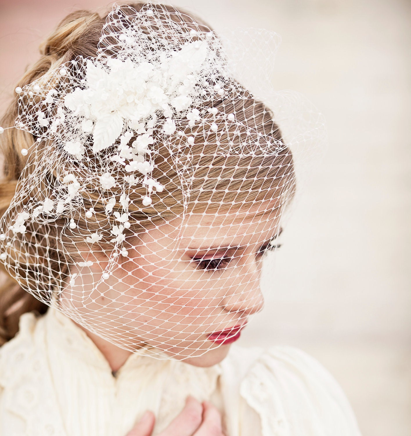 Birdcage Veil With Vintage Flower Spray Wedding Headpiece