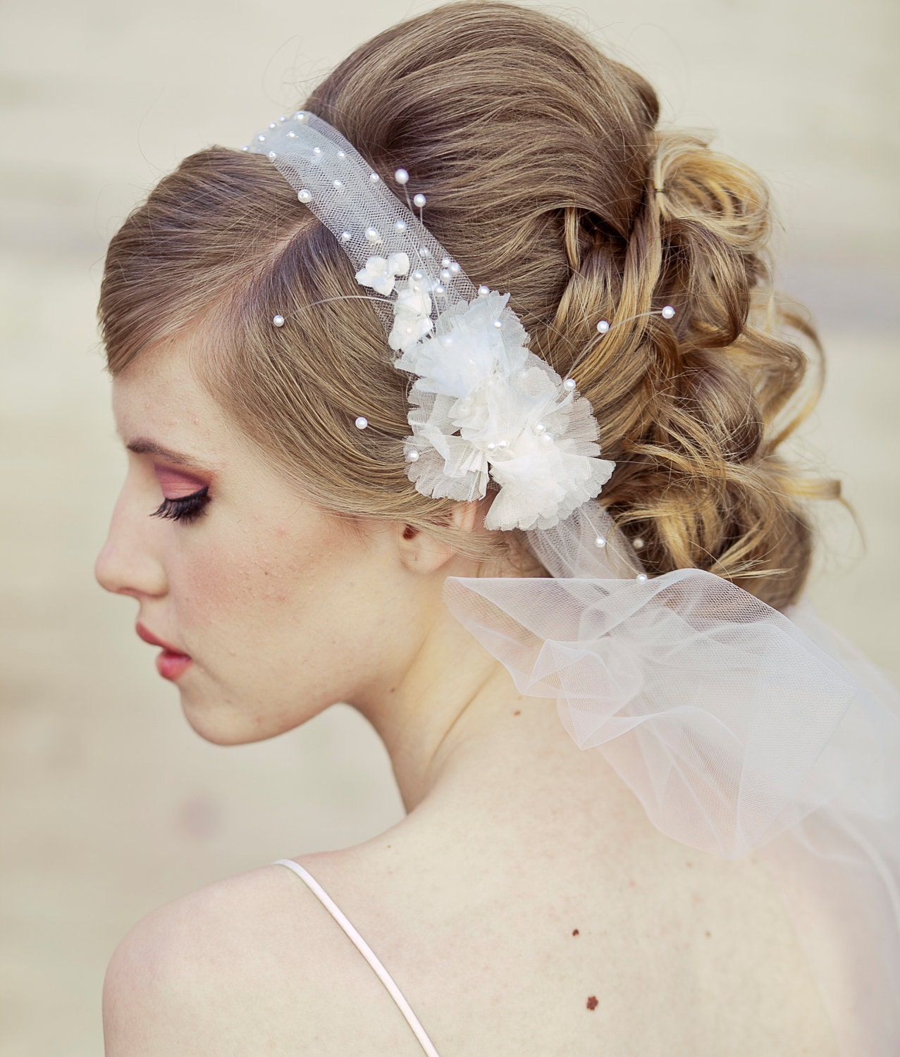 Wedding Hairstyles With Headband And Veil: Wedding Veil Tie Headband Of Net And Vintage Flowers Wedding