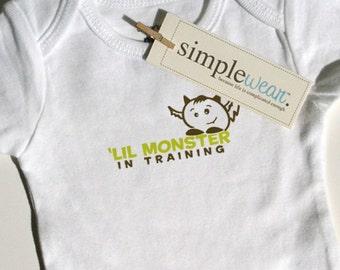 little monster in training baby bodysuit