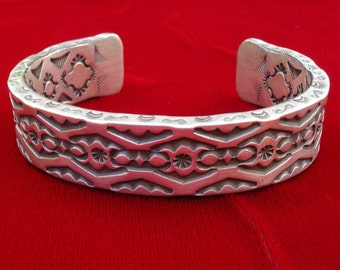 C07 Heavy Gauge Hand Stamped Forged Sterling Southwestern Native Style Cuff