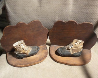 Antique Victorian Baby Shoes Bookends - Leather Spats for your Library Books
