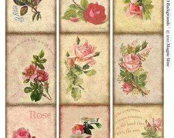 ACEO Background - Instant Download - Aged Paper - Pink Roses -Vintage Roses Collage Sheet - Digital Download - Printable