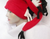 RED STOCKING Cap , Fringed with Black and White fleece