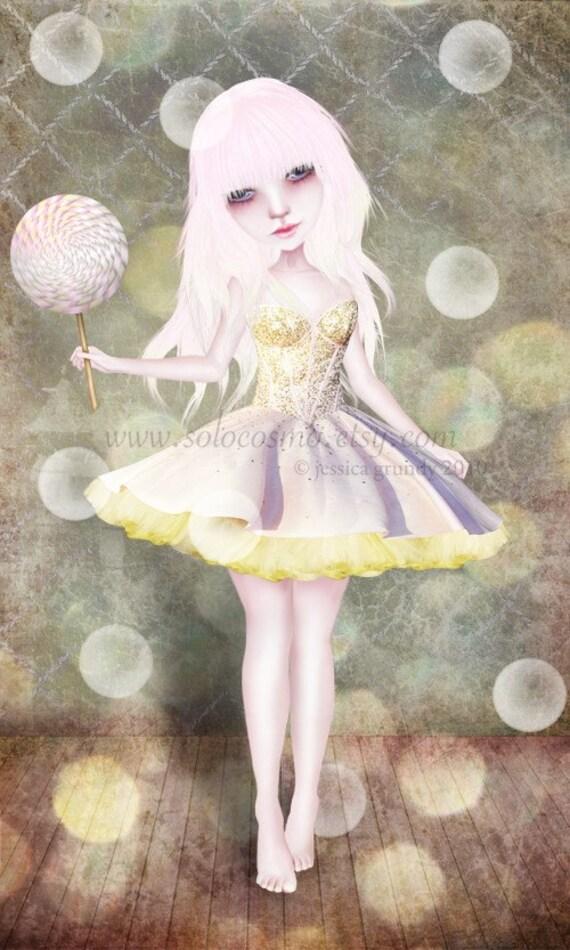 Art Print 'Sugarplum Fairy' Medium Sized 8x10 / 8.5x11  Pink and Gold Nursery Room Art - Ballet Dancer - Big Eye Art Print