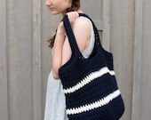 big crochet bag in navy and cream