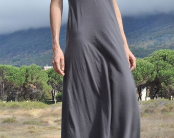 Charcoal jersey maxi dress custom for Kirsty