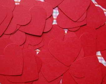 Red Hearts Punch Cut Outs Confetti -- Set of 50 hearts -- Paper Heart-Wedding Confetti-Table Scatter-Gift Tag-Valentines Day-Ready to Ship