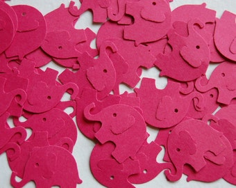 Fuchsia Pink Elephant Confetti--Set of 50 Elephants--Punch-Cut Out-1 inch-Baby Shower-Table Scatter-1st Birthday-Crafts-Ready to Ship