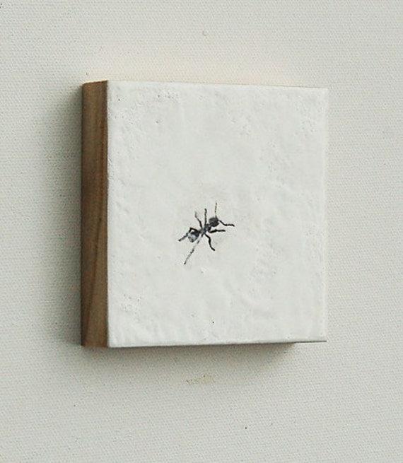 ant.  Original Mini Painting Encaustic Bug Art Black Bug Insect Entomologists Art
