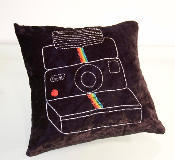 Polaroid One Step Rainbow Embroidered Pillow