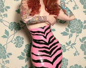 Latex Rubber Zebra pencil skirt