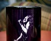 Janis Joplin-Black Coffee Mug- art, painting, black and white, singer, musician, classic rock, blues, hippie, music