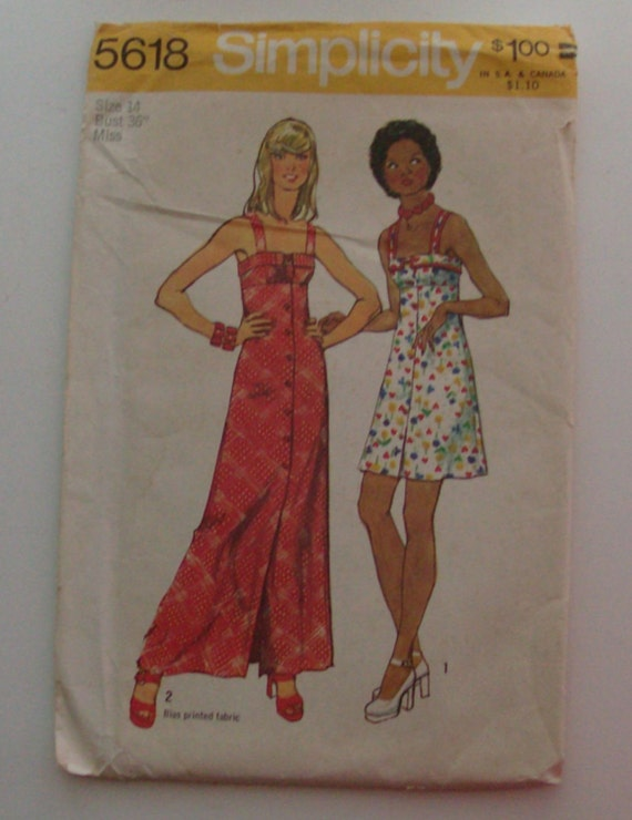 1973 Simplicity 5618 Size 14 Misses' Dress in Two Lengths UNCUT