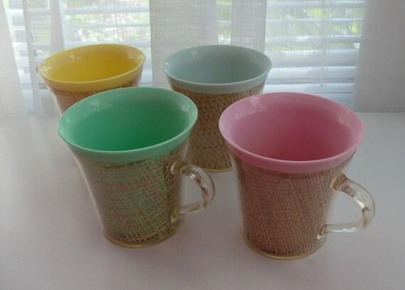 4 Thermal Basketweave Mugs