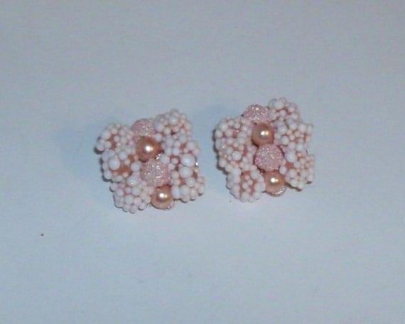 Pink Pearl and Bead Earrings