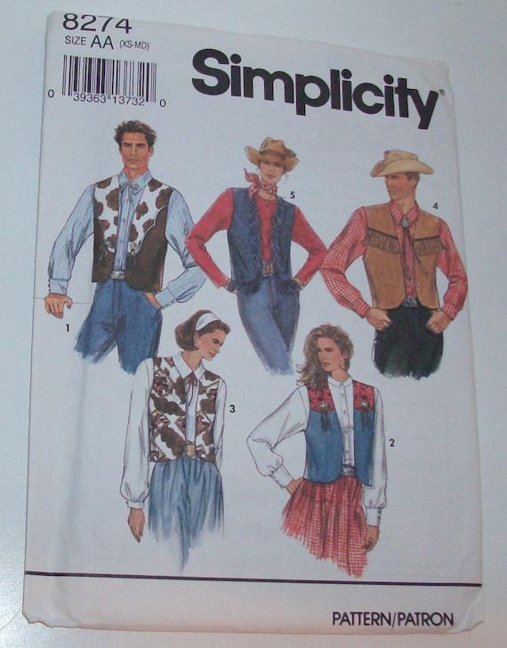 Simplicity 8274 Size XS-S-M Misses' or Teen Boys' Vest Pattern UNCUT