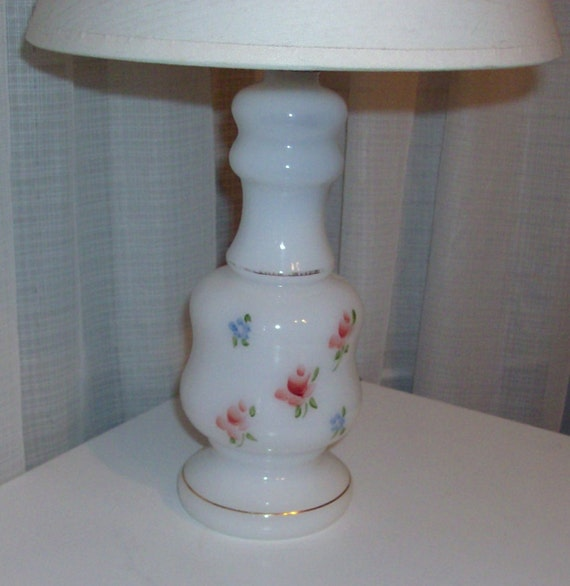 RESERVED FOR KAROLIN Milk Glass Lamp With Hand Painted Pink and Blue Flowers