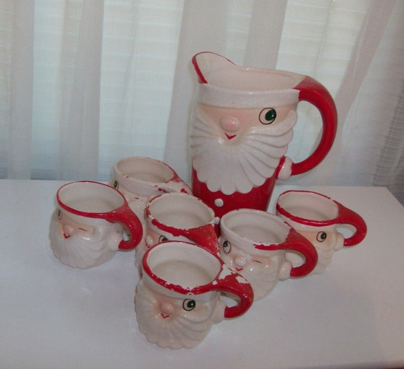 1959 Merry Whiskers Holt-Howard Hot Chocolate Mug and Pitcher Set
