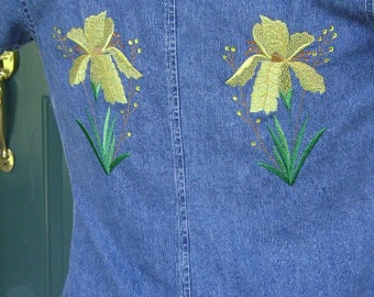 Denim Shirt with yellow Embroidered Irises, size S, OOAK, READY to Ship