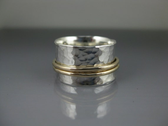 spinner ring - perfectly paired silver and gold, meditation ring, fidget ring, worry ring, recycled silver, mixed metal ring, statement ring