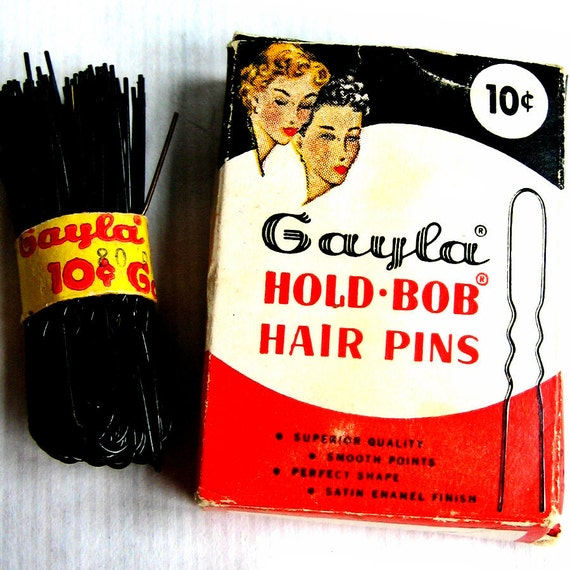 Bobby Pins Hair Accessories - Bobbypin Fasteners - Women's 1950s Fashions - Gayla Hold-Bob Hair Pin Branding - Vintage Branded Packaging