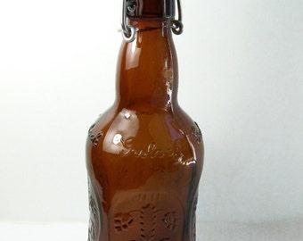 Grolsch Amber Beer Bottle, Lager Beer Bottle with Swing Top Porcelain Stopper, Vintage Amber Glass, Collectible Man Cave  or Bar Decor