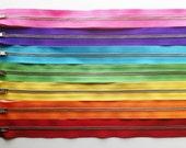 Metal Zippers- 14 inch closed bottom ykk nickel teeth zips- (7) pieces - Rainbow Set