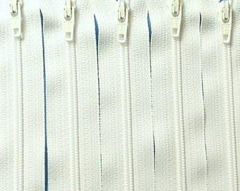 Ten 12 Inch White Zippers YKK Color  501