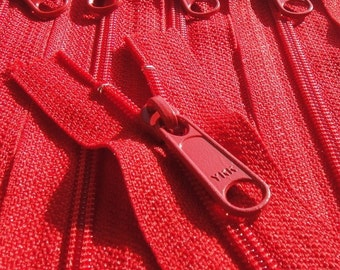 Handbag Zippers 5 Pieces 18 Inch YKK Long Pull Purse Zippers Color 519 Red
