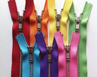 Metal Zippers- #4.5 closed bottomYKK nickel teeth zips- (7) pieces - Rainbow Set- Available in 6,7,9,12,14 and 18 inches