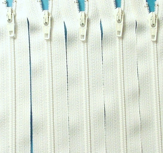 Ten 12 Inch White Zippers YKK Color  501