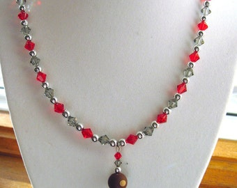 Buckeye Necklace Red and Gray Swarovski Crystals