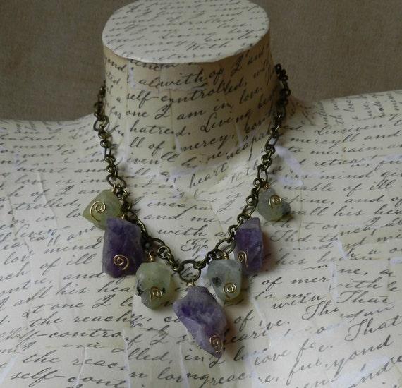 Amethyst & Prehnite Necklace Brass Raw Earthy Natural Crystal
