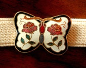 Vintage Cloisonne Butterfly Elastic Belt Cream Colored, Cloisonne Belt, Vintage Elastic Belt, Adjustable Belt, Butterfly Belt