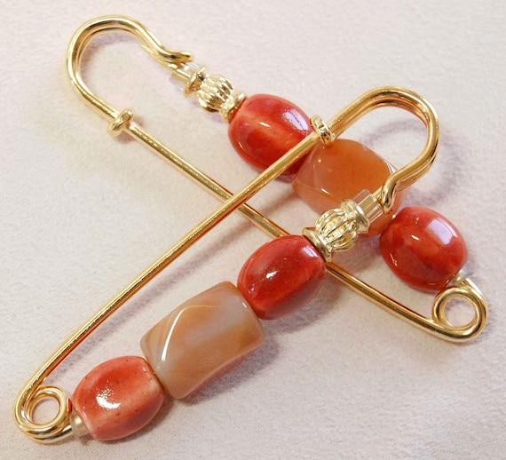 Carnelian n Orange Ceramic Gathering Pin Pair, Sleeve Pin, Scarf Pin