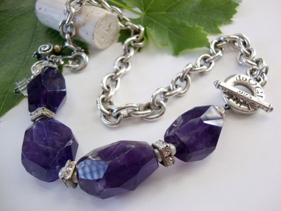 Large Amethyst Gemstone Sterling Silver Necklace