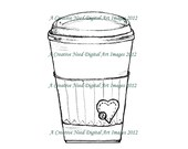 INSTANT Download Digital Stamp Image LOVE me a Cup of COFFEE
