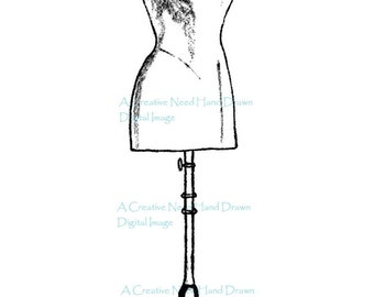 SALE Dress Form Digital Stamp Image for Cardmaking, Scrapbooking, ATCs,