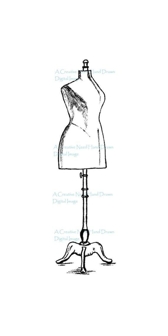 SALE Dress Form Digital Stamp Image for Cardmaking, Scrapbooking, ATCs,