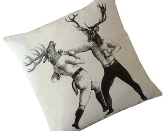 As seen in Elle Decor Magazine Boxing Deer Bucks silk screened cotton canvas throw pillow 18 inch black