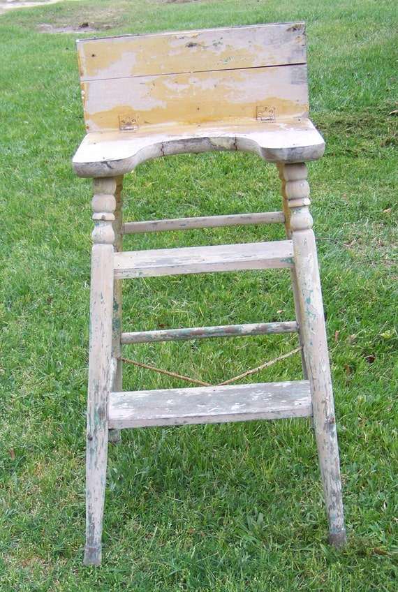Vintage Mid Century Primitive Wooden Chippy Kitchen Stool or Step Stool
