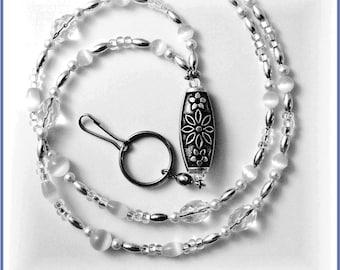 White Beaded Lanyard/ Id Badge Holder/Necklace