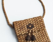 Vintage Hazelnut Brown Wood Beads Pouch - Mini Purse Charm Boho Chic Accessory - Vintage Fashion Accessory - Unique Gift - Gift Idea for Her