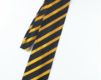 Eighties Stripe Silk French Necktie - Rep Tie Mens Accessory - Vintage Mens Fashion - Fathers Day Gift - Black and Yellow Tie - Men Clothing