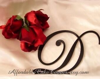 Black Cake Topper - Wedding Cake Topper - Personalized Black Monogram Letter Cake Topper - Mr and Mrs - Bride and Groom