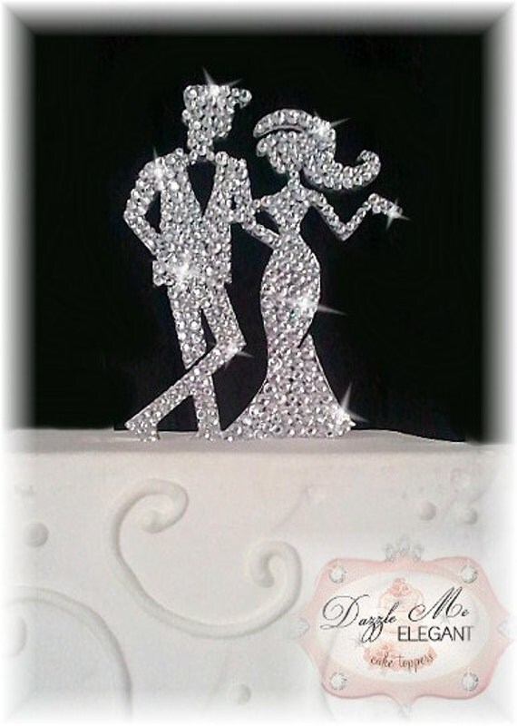 Bride and Groom Cake Topper - Crystal Cake Topper - Custom Wedding Cake Topper
